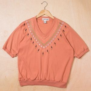 1980's Coral Embellished Short Sleeve Sweatshirt